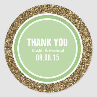 Gold Glitter & Pistachio Green Thank You Label