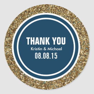 Gold Glitter Prussian Blue Custom Thank You Label
