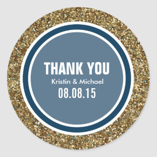 Gold Glitter & Prussian Blue Thank You Label Round Sticker