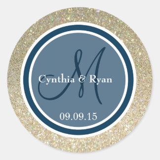 Gold Glitter & Prussian Blue Wedding Monogram Round Sticker