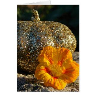 Gold Glitter Pumpkin and Orange Flower Greeting Card