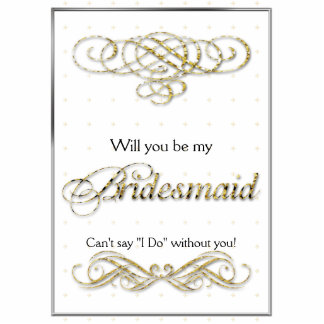 Gold Glitter Scroll Bridesmaid Gift Standing Photo Sculpture
