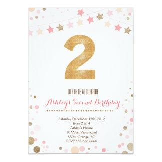 Gold Glitter Second Birthday Invitation