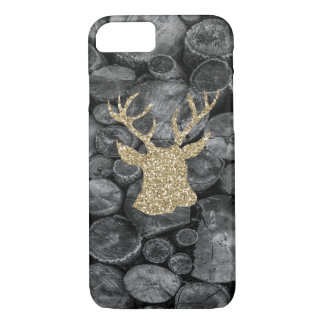 Gold Glitter Stag/Deer Wood Logs iPhone 7 Case