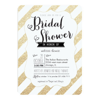 Gold Glitter Stripes Bridal Shower Invitation