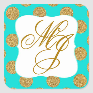 Gold Glitter Turquoise White Monogram Label Square Sticker