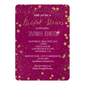 Gold Glittery Confetti Dots Pink bridal shower Card