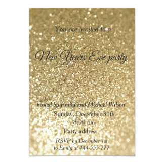 Gold Glittery New Years eve party Card