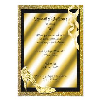 Gold Glittery Stiletto & Streamers 70th Birthday Magnetic Invitations