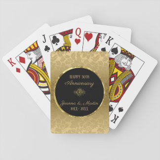 Gold Gradient Damask- Anniversary Playing Cards