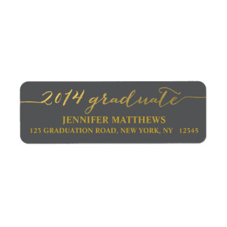 Gold Gray 2014 Graduate Address Label