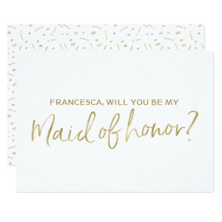 """Gold Hand lettered """"Will you be my maid of honor"""" Card"""