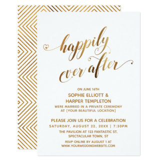 Gold Happily Ever After Post Wedding Celebration Card