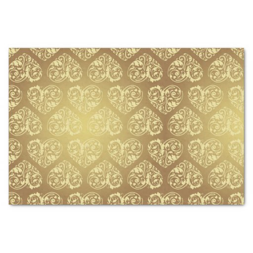 Gold heart floral damask vintage chic elegant love 10 x - Vintage and chic love ...