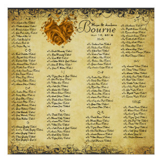 Gold Hearts and Roses Wedding Seating Chart