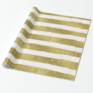 Gold Hearts Stripes Wrapping Paper