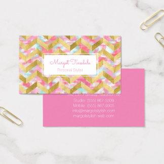 Gold Herringbone Paint Strokes Business Card