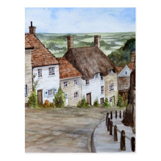 Gold Hill, Shaftesbury, Dorset Watercolor Painting Postcard
