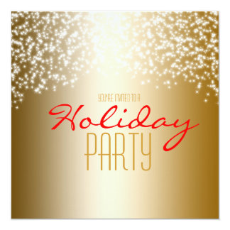 Gold Holiday Party Glitter Sparkle Invitation