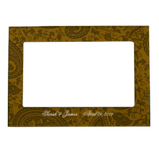 Gold indian damask magnetic picture frame