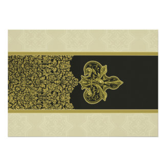 Gold Indian Floral Ornament Wedding Invitation