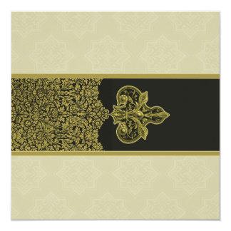 Gold Indian Floral Ornament Wedding Invitation
