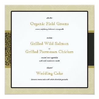 Gold Indian Ornament Wedding Reception Menu Card 13 Cm X 13 Cm Square Invitation Card