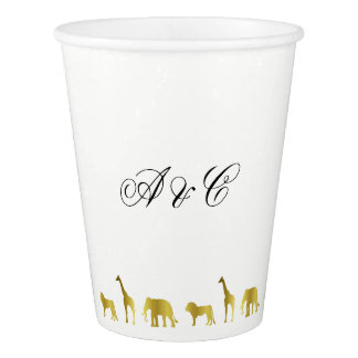 Gold Jungle Animals Party Paper Cups