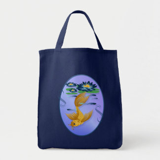 Gold Koi and Deep Blue Lilies  Bags