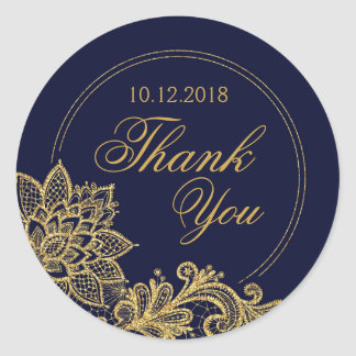 Gold Lace Navy Modern Thank You Label