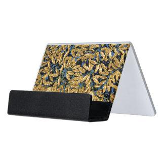 Gold Laurel Leaves Desk Business Card Holder