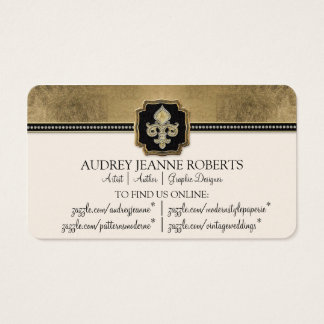 173 gold faux leaf business cards and gold faux leaf business card gold leaf look fleur de lis faux vintage jewel business card colourmoves