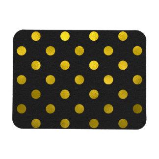 Gold Leaf Metallic Faux Foil Large Polka Dot Black Magnet