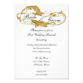 Gold Leaf Post Wedding Brunch Invitation