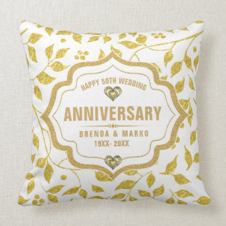 Gold Leafs Pattern 50th Wedding Anniversary Throw Pillow