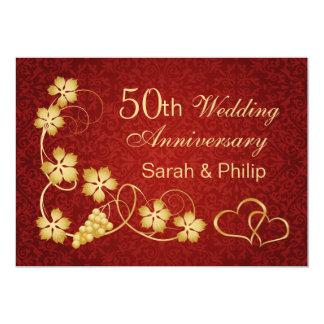 Gold leaves, vine, hearts 50th Wedding Anniversary Card