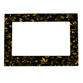 Gold leaves with black back ground magnetic frame