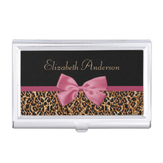 Gold Leopard Fur Chic Sangria Pink Bow With Name Business Card Holder