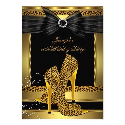 Gold Leopard High Heel Shoe Black Birthday Party Custom Invitation