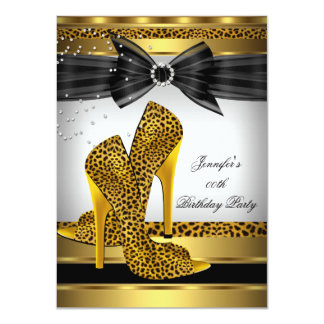 """Gold Leopard High Heel Shoe Silver Birthday Party 4.5"""" X 6.25"""" Invitation Card"""