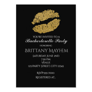 Gold Lips KISS Bachelorette Party Invitation