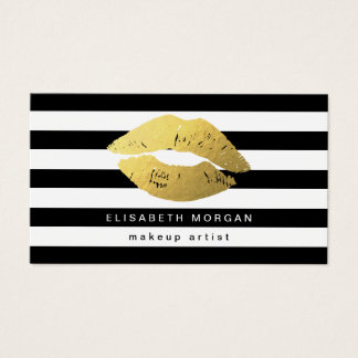 Gold Lips with Black White Stripes - Makeup Artist Business Card