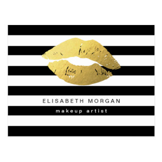 Gold Lips with Black White Stripes - Makeup Artist Postcard