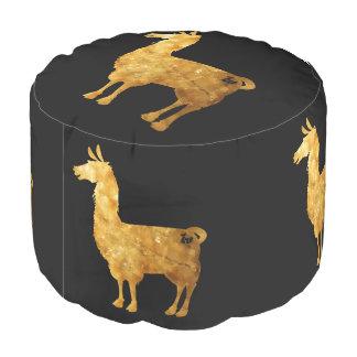 Gold Llama Pouf