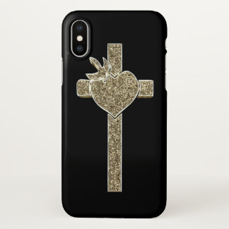 Gold Look Cross with Dove and Heart Elegant iPhone X Case