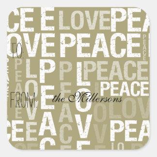 Gold Love Peace Gift Tag Square Sticker