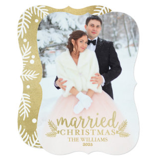Gold Married Christmas   Holiday Photo Card 13 Cm X 18 Cm Invitation Card