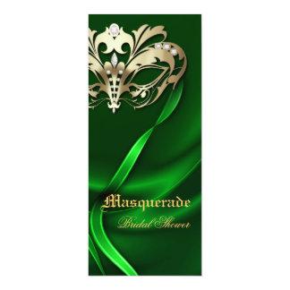 Gold Masquerade Green Bridal Shower Invitation