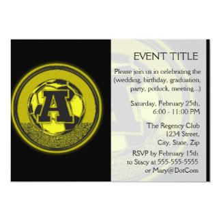 Gold Medal Soccer Monogram Letter A 13 Cm X 18 Cm Invitation Card