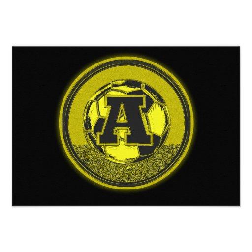 Gold Medal Soccer Monogram Letter A Custom Invite